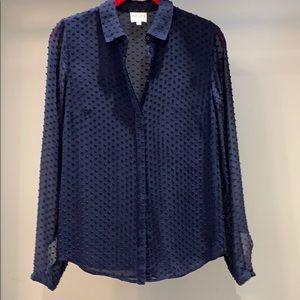 Reiss Navy Silk Blouse with dot velvet in Size 2